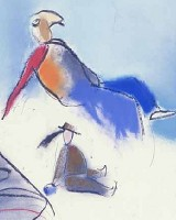 Saddle me up a big white goose    oil crayon & pastel    107 x 145cm